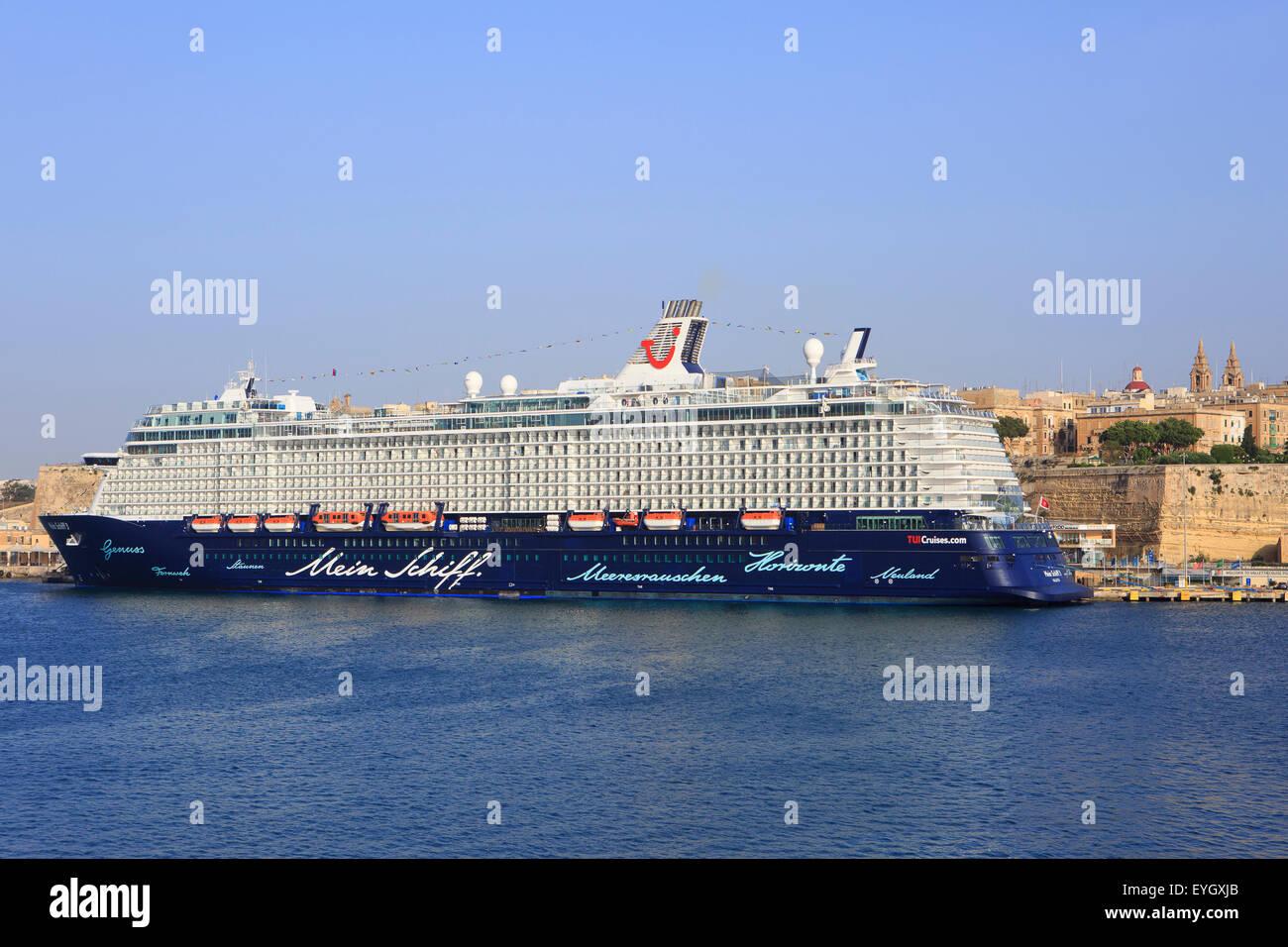The TUI cruise ship 'Mein Schiff 3' in Valletta, Malta moored at the Riverfront in Valletta, Malta - Stock Image