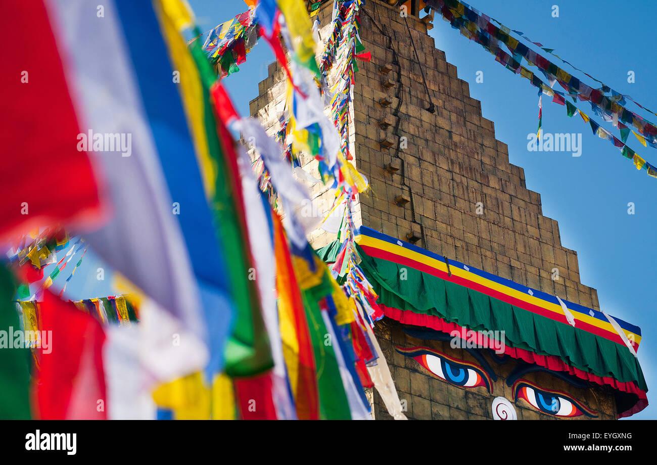 Prayer Flags And Stupa; Kathmandu, Boudhanath, Nepal - Stock Image