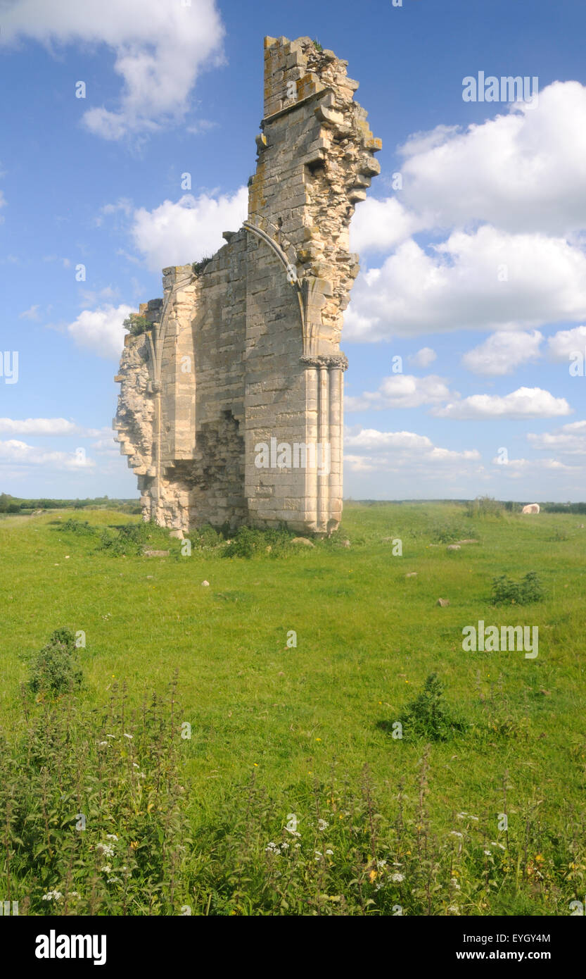 The sole remaining standing fragment of Barlings Abbey, Low Barlings, Lincolnshire, England - Stock Image
