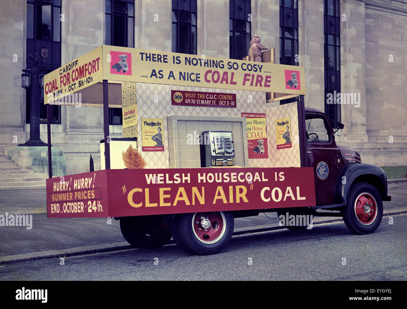 Cardiff, 1959, Coal Advertising Lorry - Stock Image