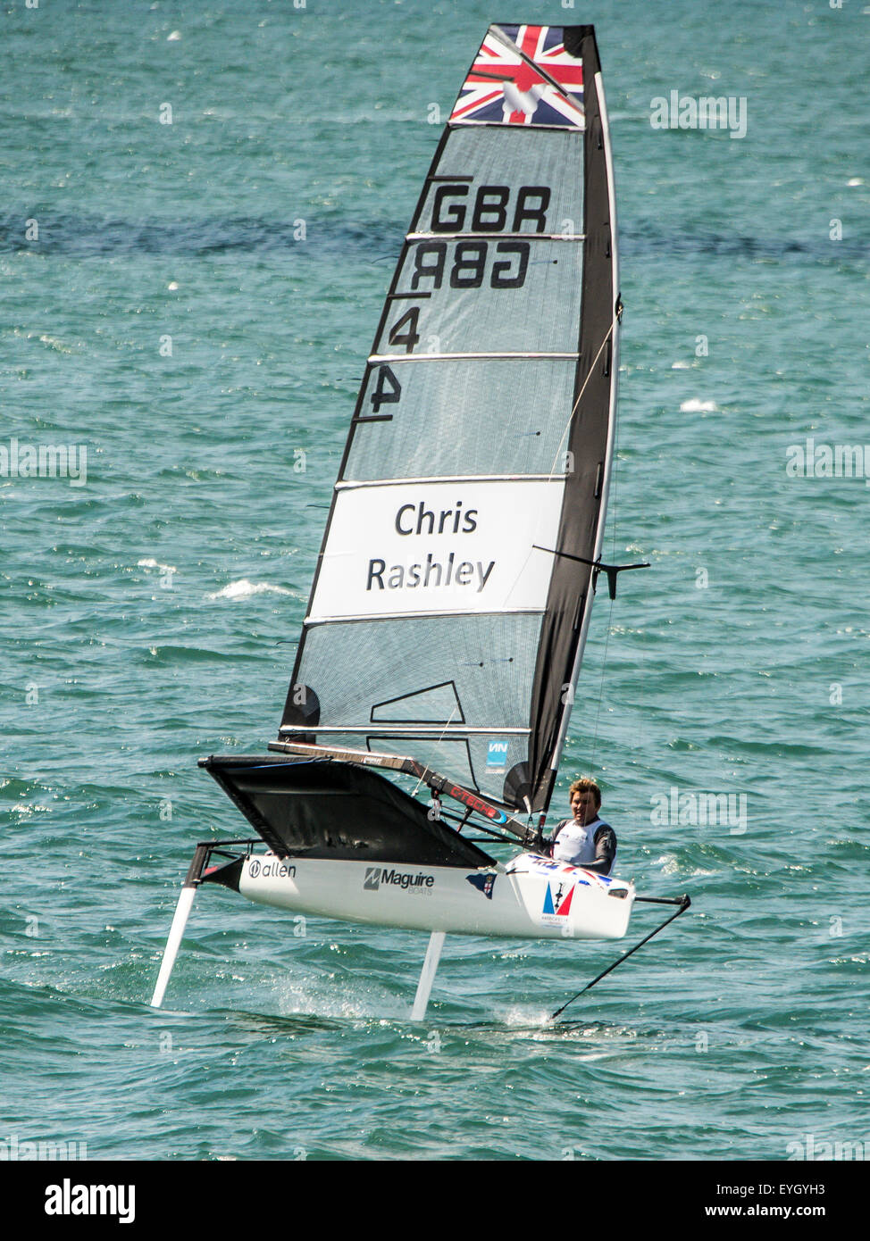 Chris Rashley moth racing for team GBR in the Solent portsmouth - Stock Image