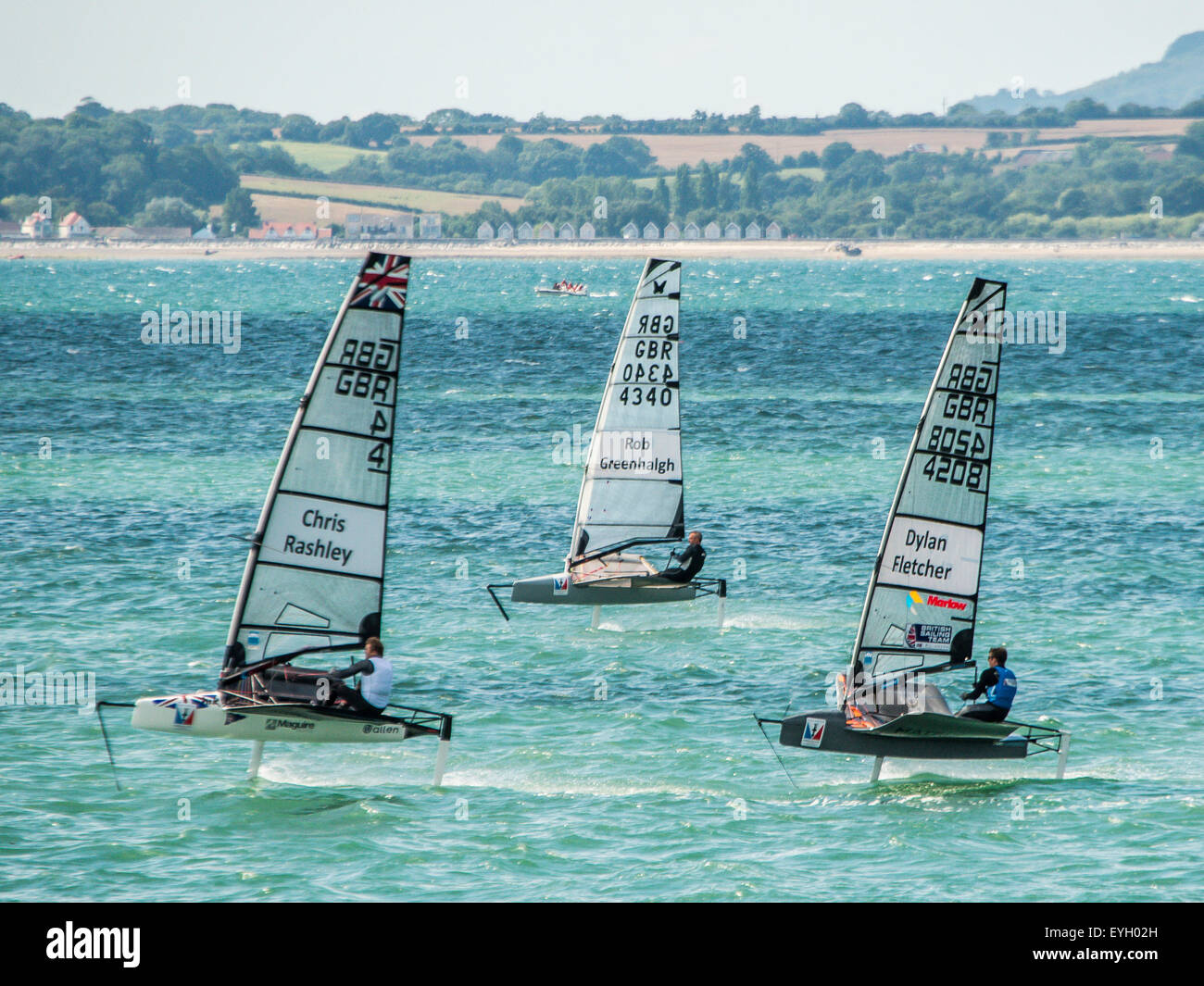 Chris Rashley, Rob Greenhaigh & Dylan Fletcher moth racing for team GBR in the Solent portsmouth - Stock Image