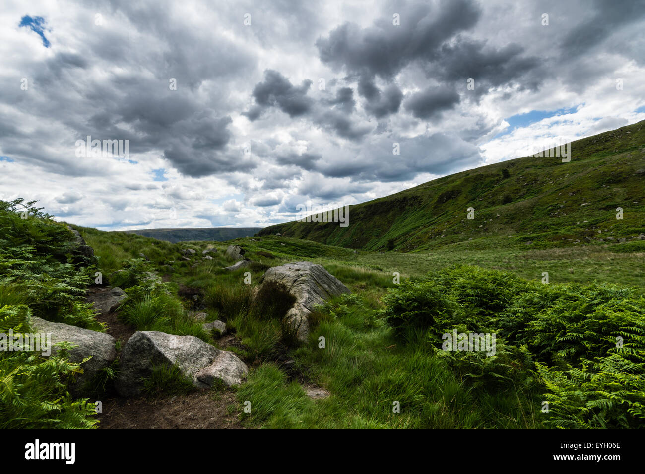 Broody clouds overhead on the Pennine Way - Stock Image