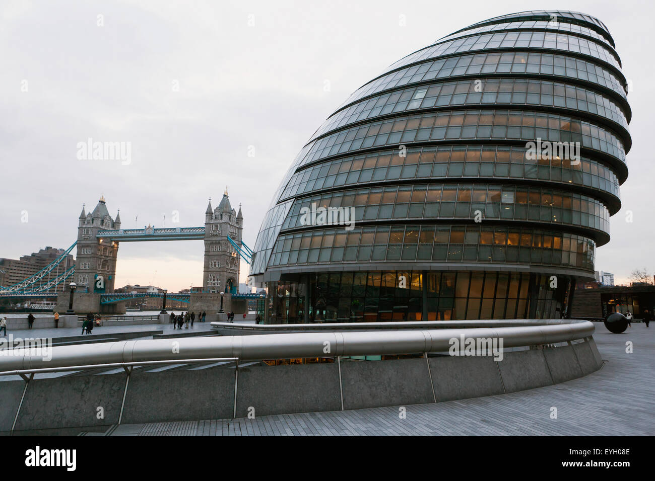 Greater London Council (Glc) Building And Tower Bridge; London, England, Uk - Stock Image