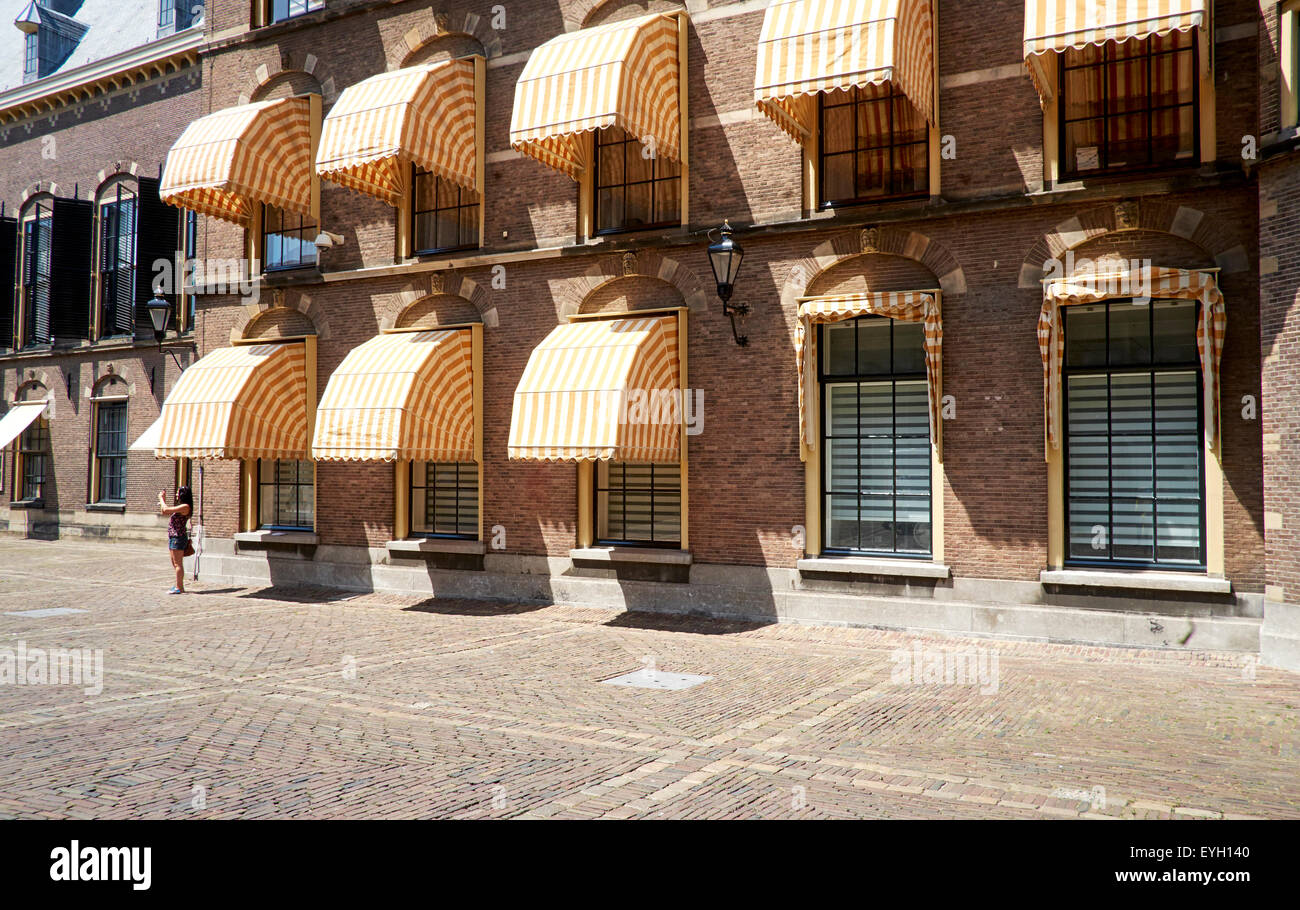 Awnings at the Binnenhof, The Binnenhof is the center of Dutch politics - Stock Image