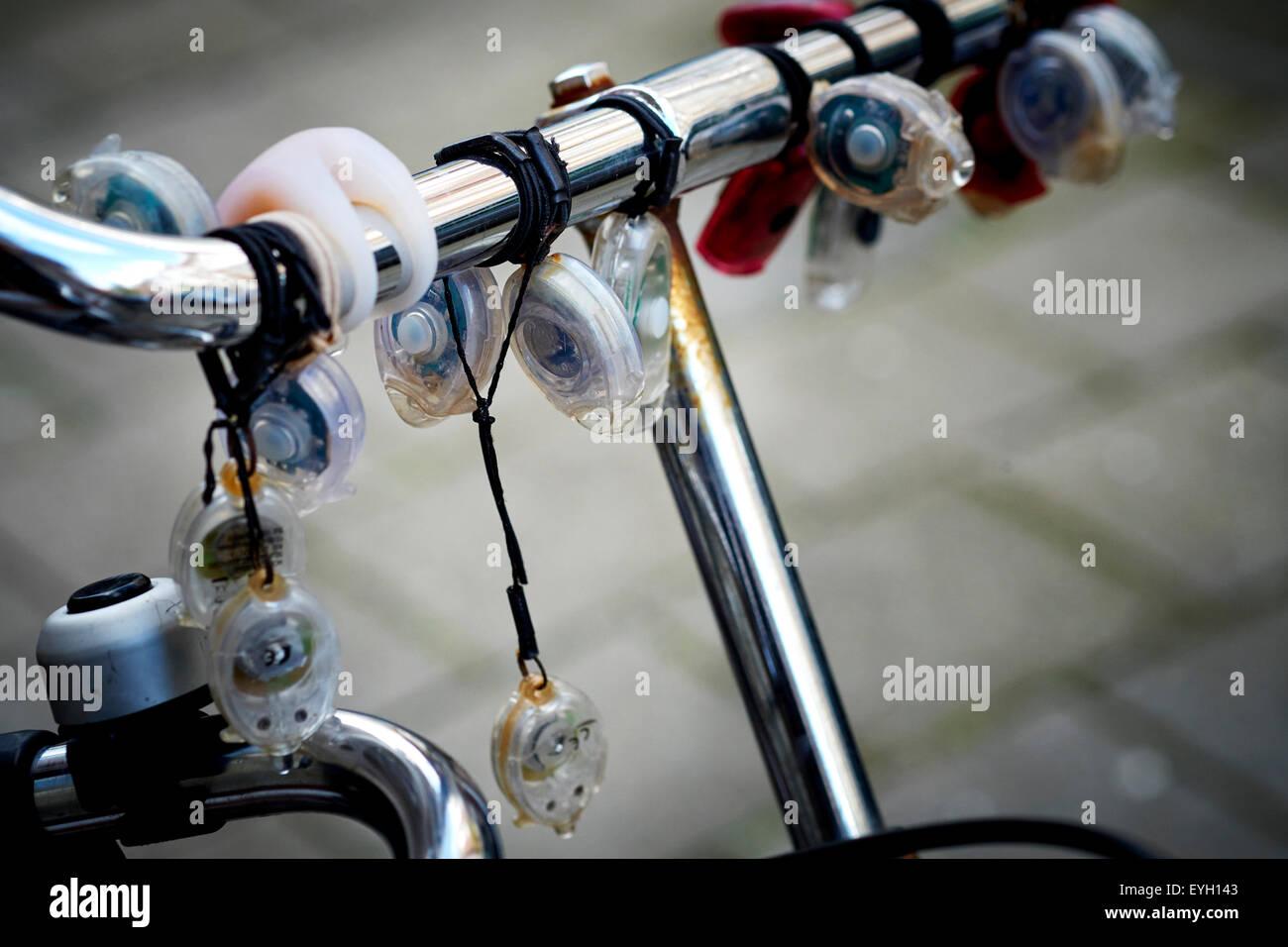 Led lights on bike's steering wheel - Stock Image