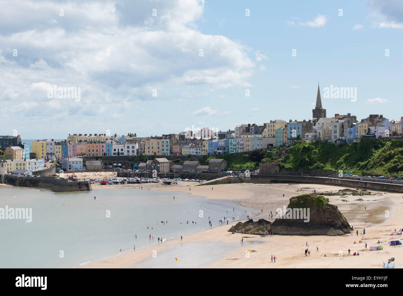 Colourful houses at Tenby Harbour in west Wales. - Stock Image