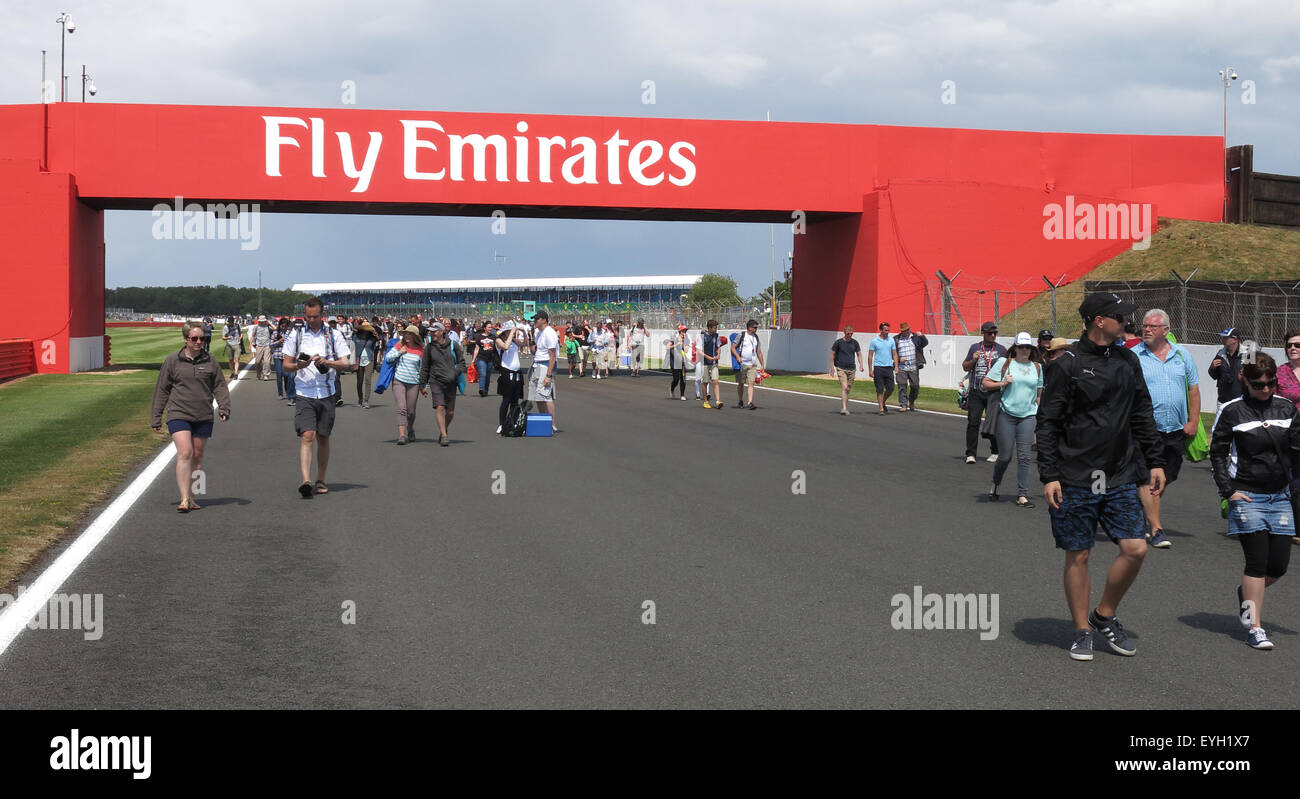Crowds at Silverstone British Grand Prix F1Fly Emirates - Stock Image