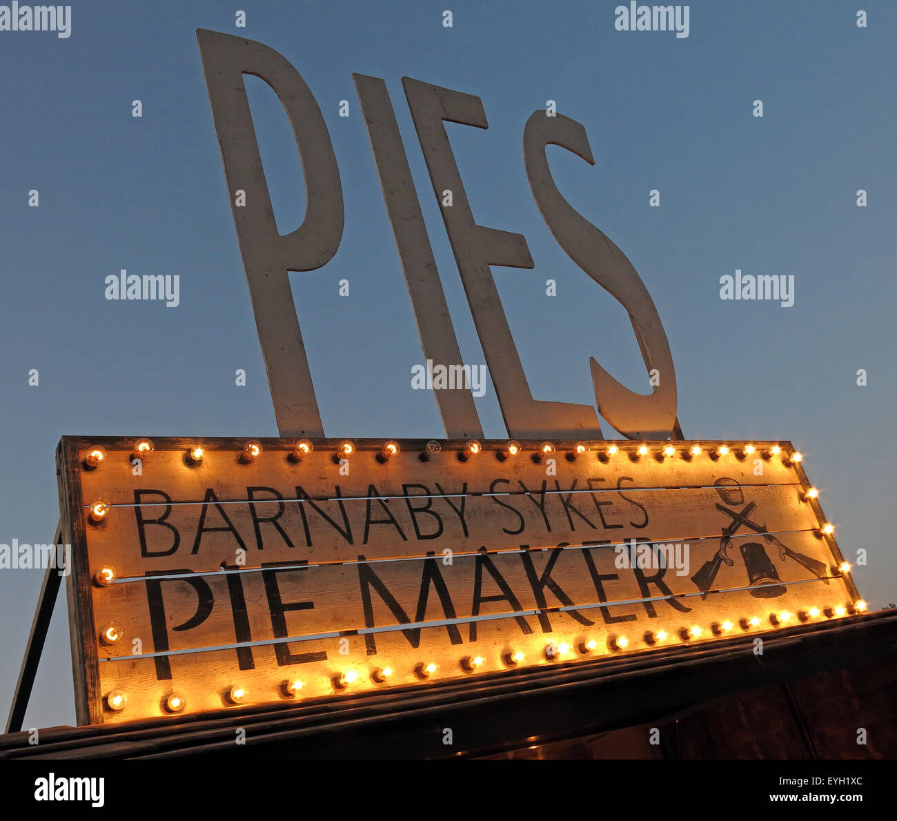 Handmade Artisan Pies on sale at a festival, England, UK - Stock Image
