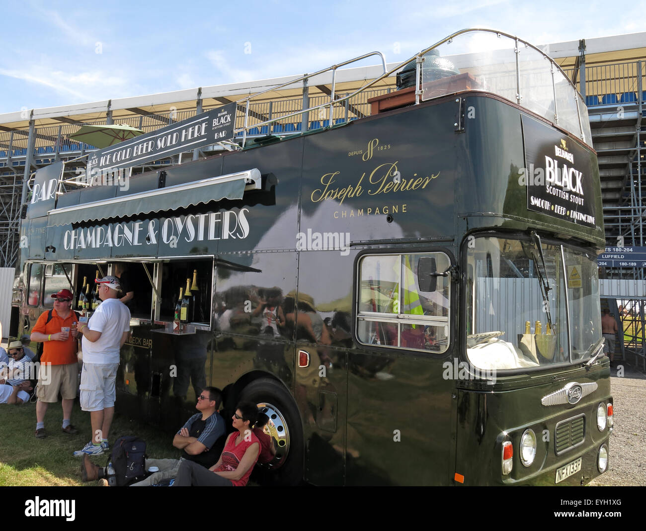 Black bus,Joseph Perrier Champagne and Oyster bar at an event - Stock Image