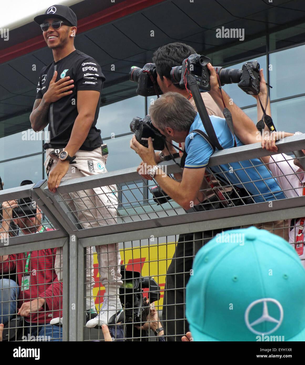 Lewis Hamilton in the pit area,Silverstone F1 Grand Prix 2015 - Stock Image