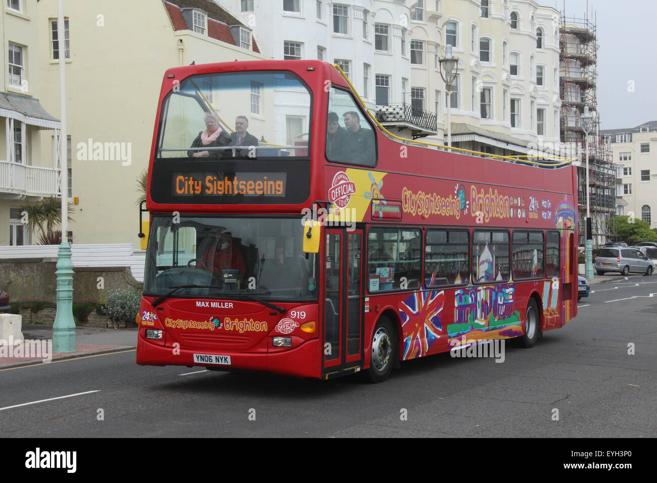 A CITY SIGHTSEEING OPEN TOP DOUBLE DECK TOURIST BUS IN BRIGHTON EAST SUSSEX UK - Stock Image