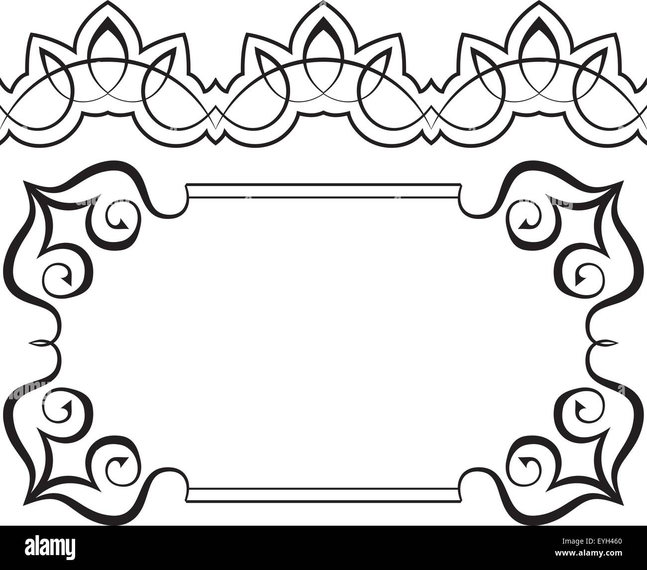 Borders Frames Design Black and White Stock Photos & Images