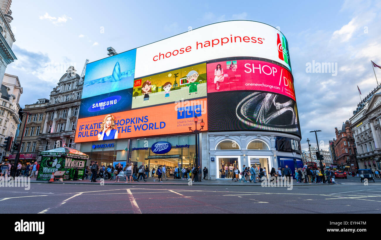 Piccadilly Circus new famous iconic landmark advertisements billboards in in London England UK - Stock Image