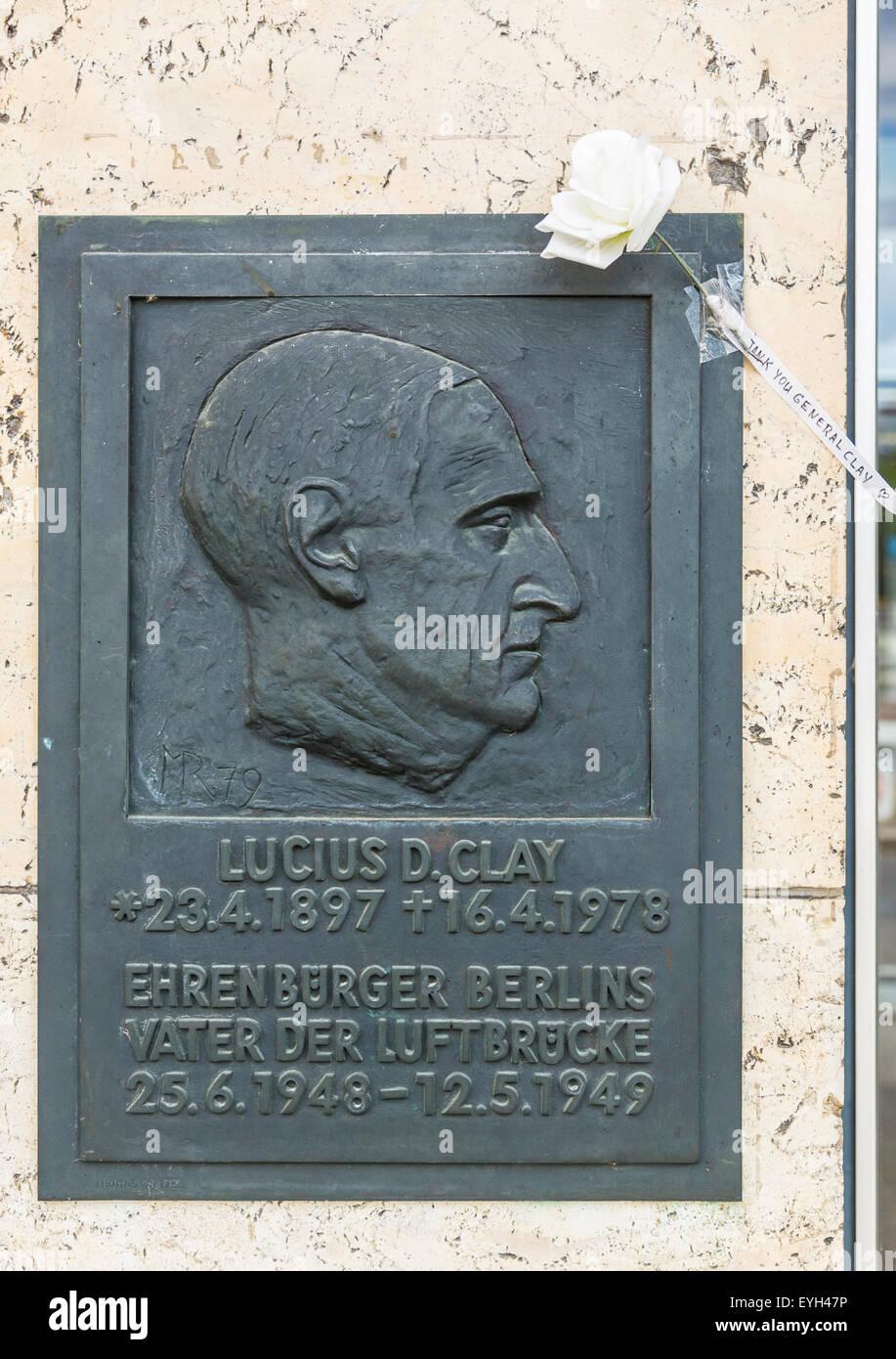 Memorial stone of Lucius D. Clay at Tempelhof airport, Berlin, Germany. - Stock Image