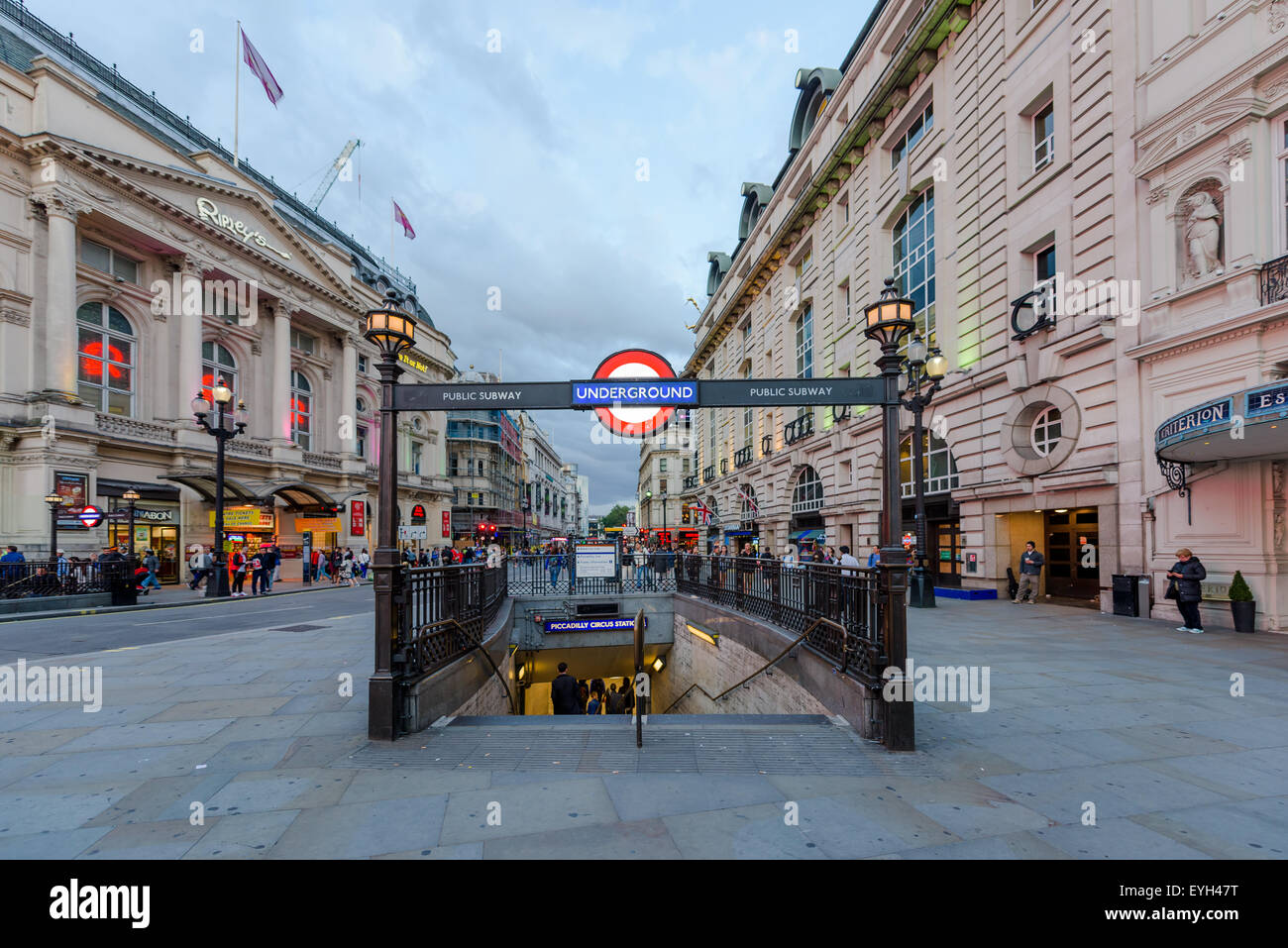 A London underground tube station on July 28, 2015 in Piccadilly Circus London, England. Stock Photo