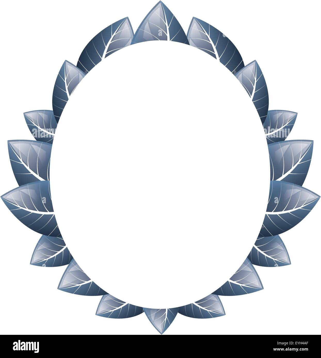 Vector drawing. Oval frame of blue leaves on a white background ...