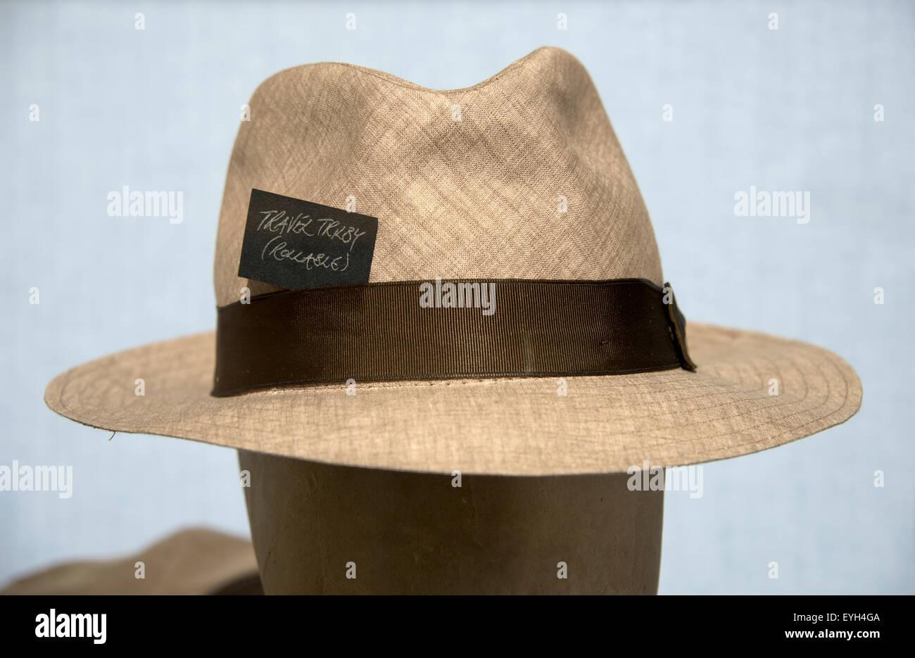 ba9a6cd59624c7 Travel Trilby hat on display Stock Photo: 85813962 - Alamy