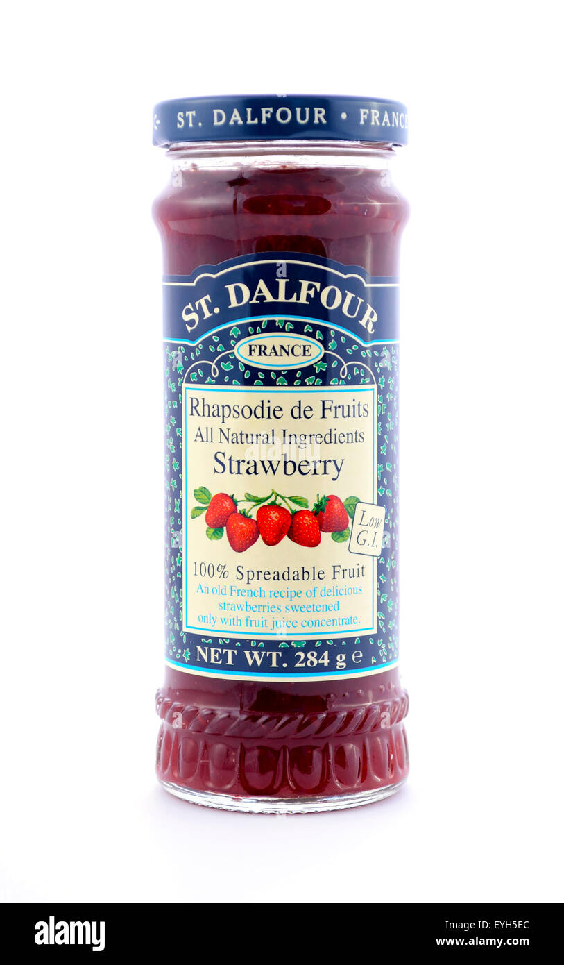 ADELAIDE, AUSTRALIA - MAY 17, 2015: St Dalfour, product of France, jar of spreadable strawberry fruit conserve. - Stock Image