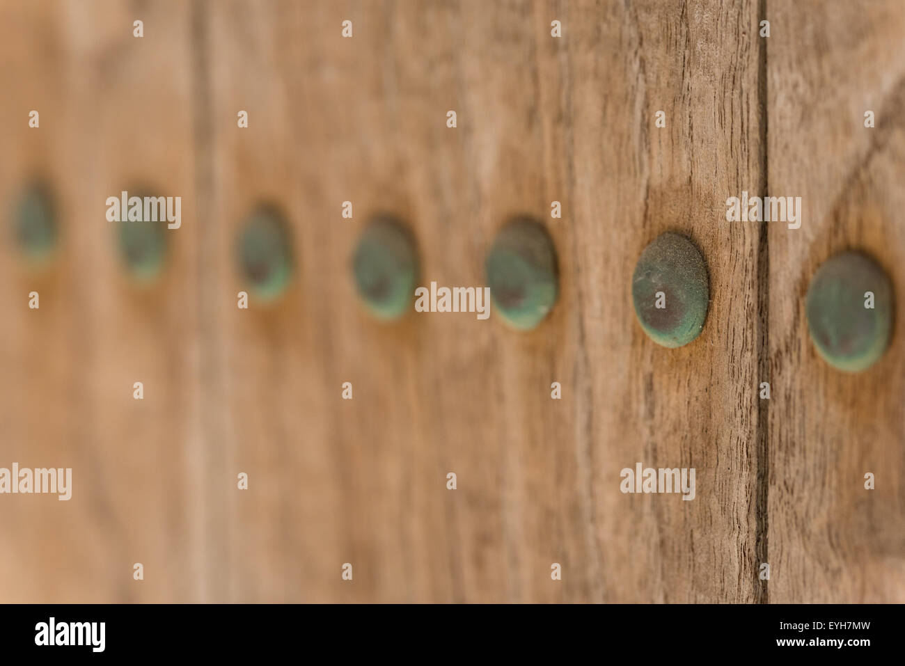 A macro shot of old copper nails which haved turned green due to oxidation on an old wooden door. - Stock Image