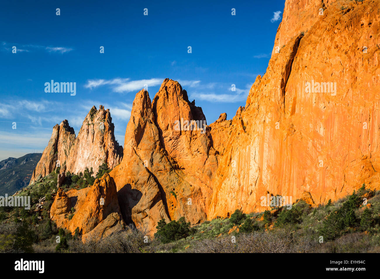 The rock formations in the Garden of the Gods National Natural Landmark near Colorado Springs, Colorado, USA. - Stock Image