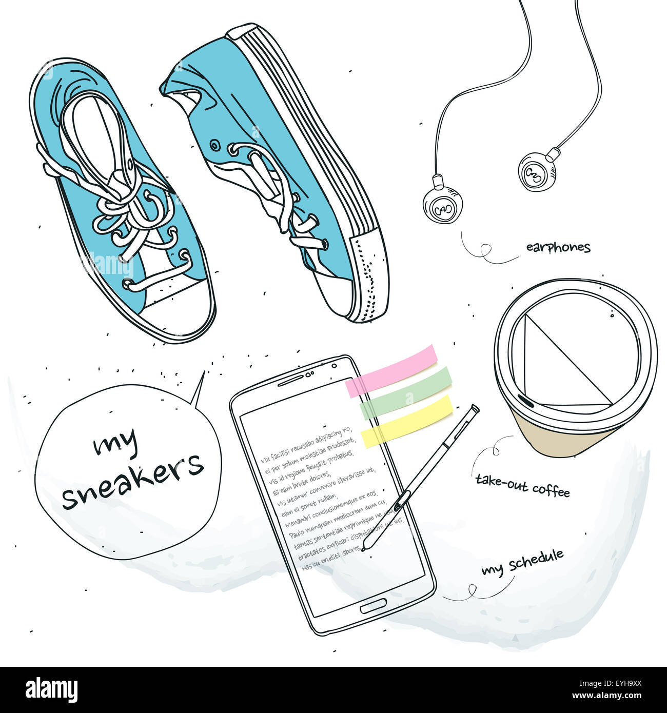 Athletic shoes and cell phones and coffee - Stock Image