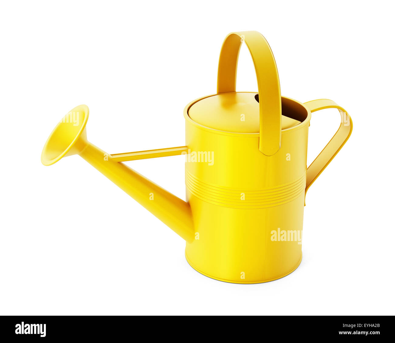 Yellowl watering can isolated on white background - Stock Image