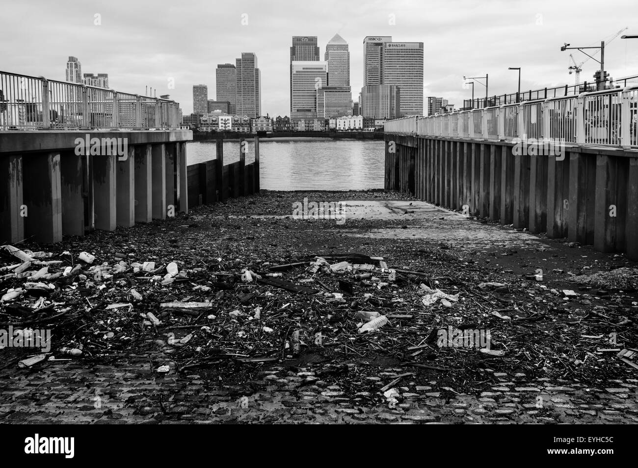 Canary Wharf seen from a slipway in North Greenwich - Stock Image