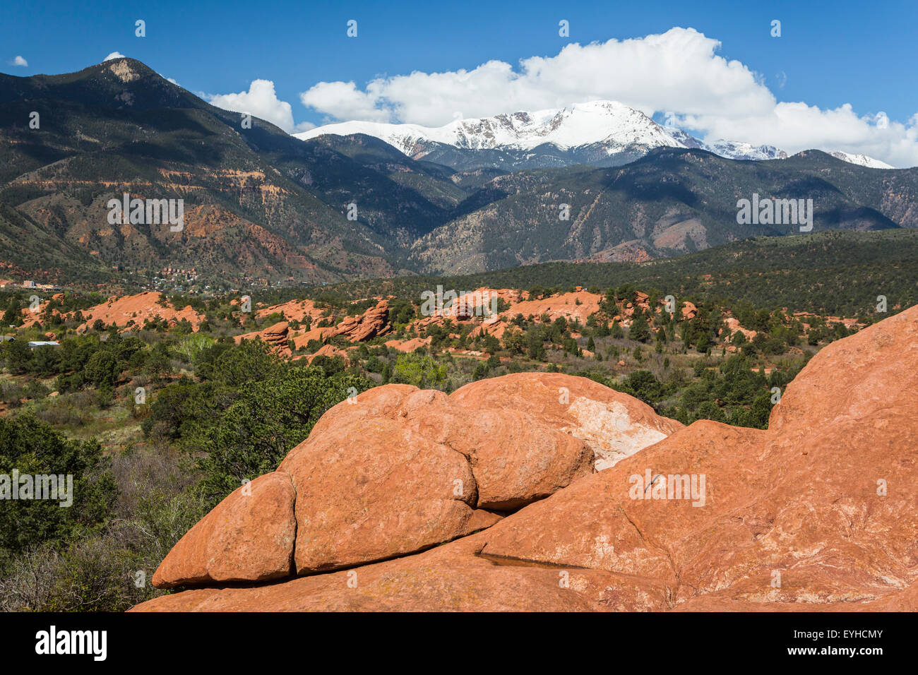 The rock formations of  Garden of the Gods National Natural Landmark and Pike's Peak, near Colorado Springs, - Stock Image