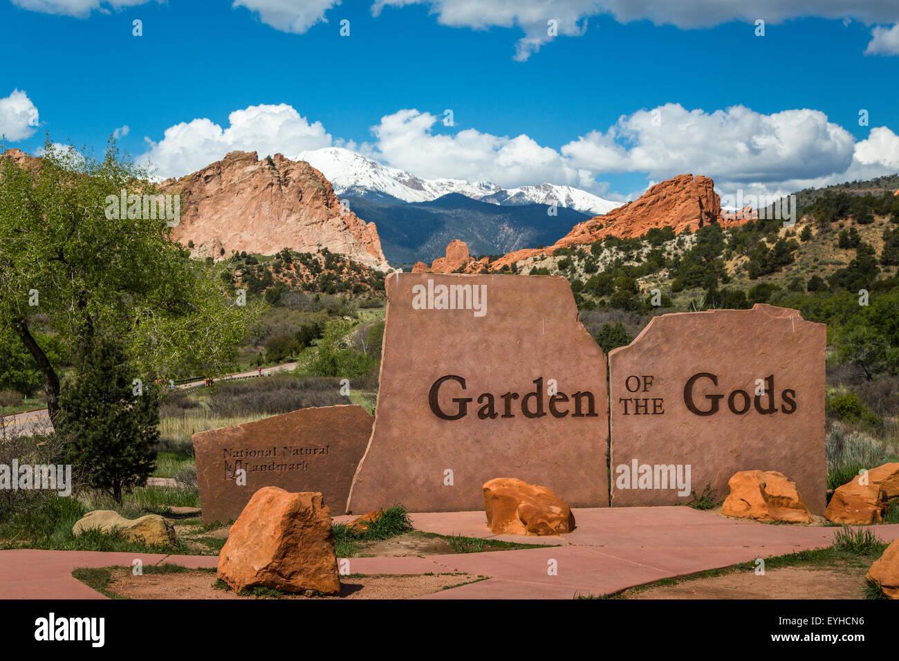 The Garden of the Gods National Natural Landmark sign near Colorado springs, Colorado, USA. - Stock Image