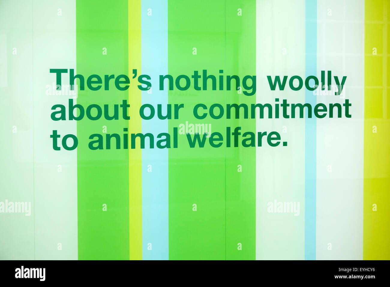 Animal welfare advert, Marks and Spencer shop, UK - Stock Image