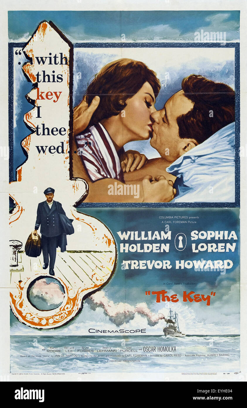 The Key - 1958 - Movie Poster - Stock Image