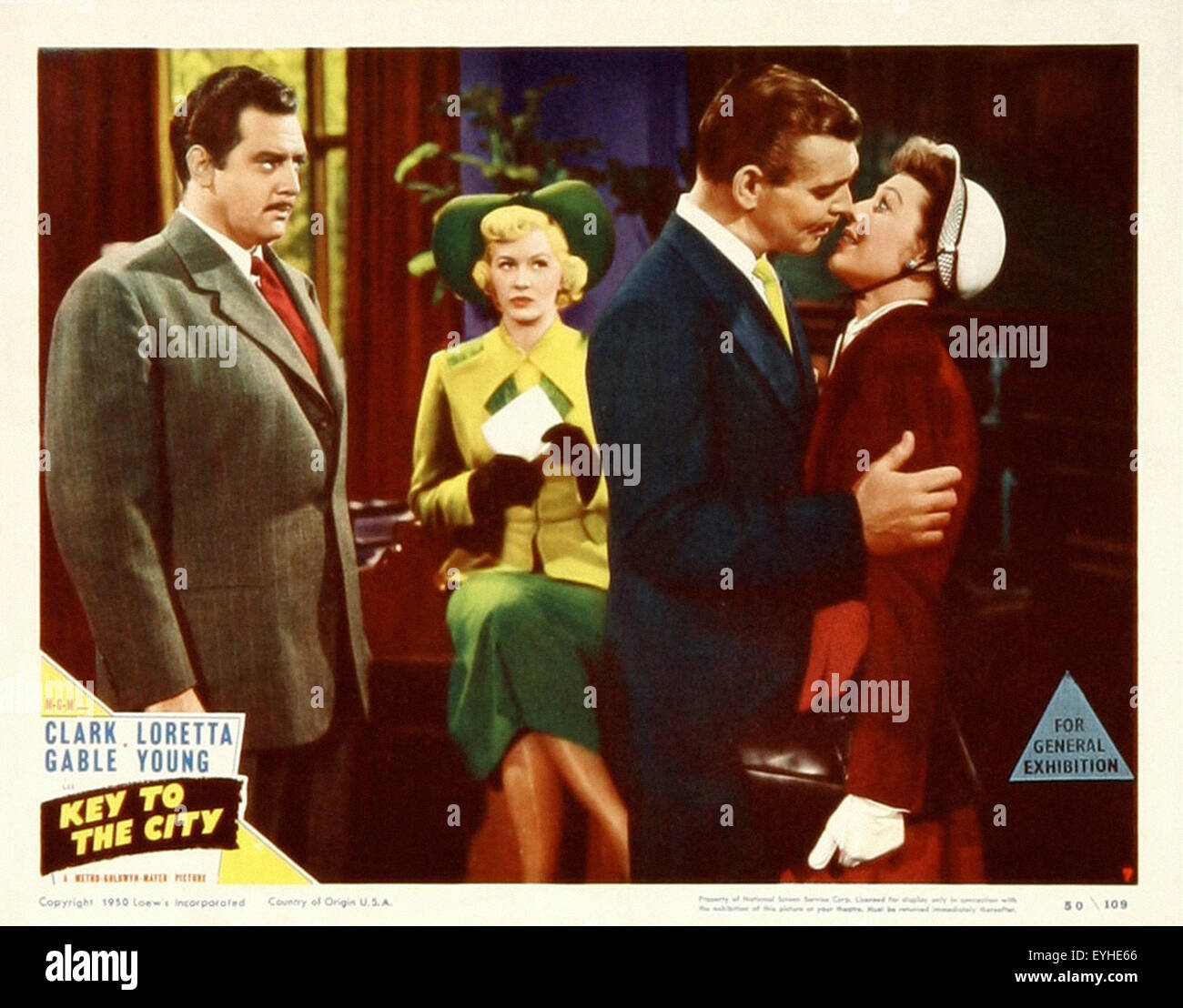 Key to the City - Clark Gable - Loretta Young - Movie Poster - Stock Image