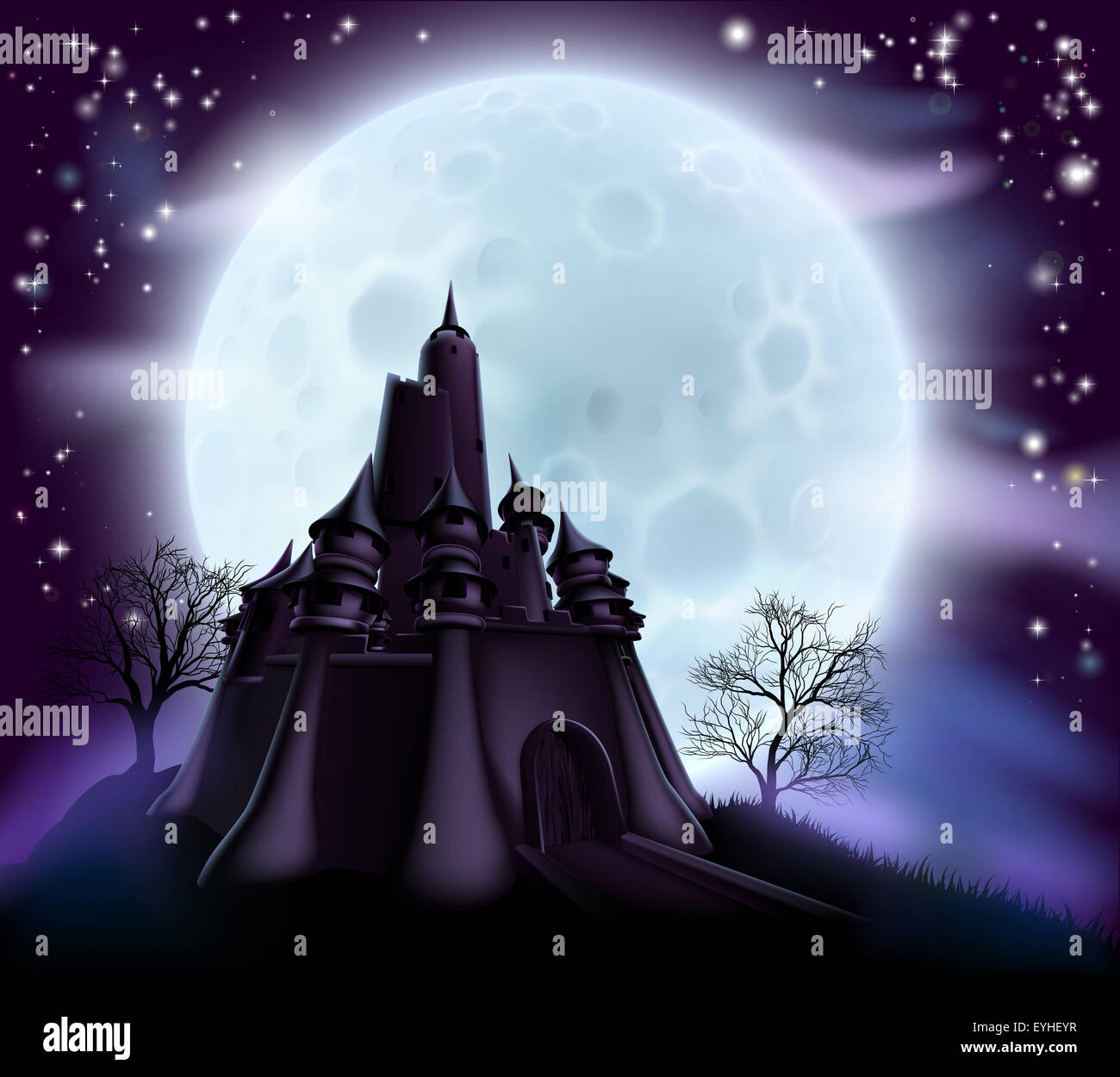 Halloween castle background with a spooky haunted castle and trees on a hill silhouetted against a full moon - Stock Image