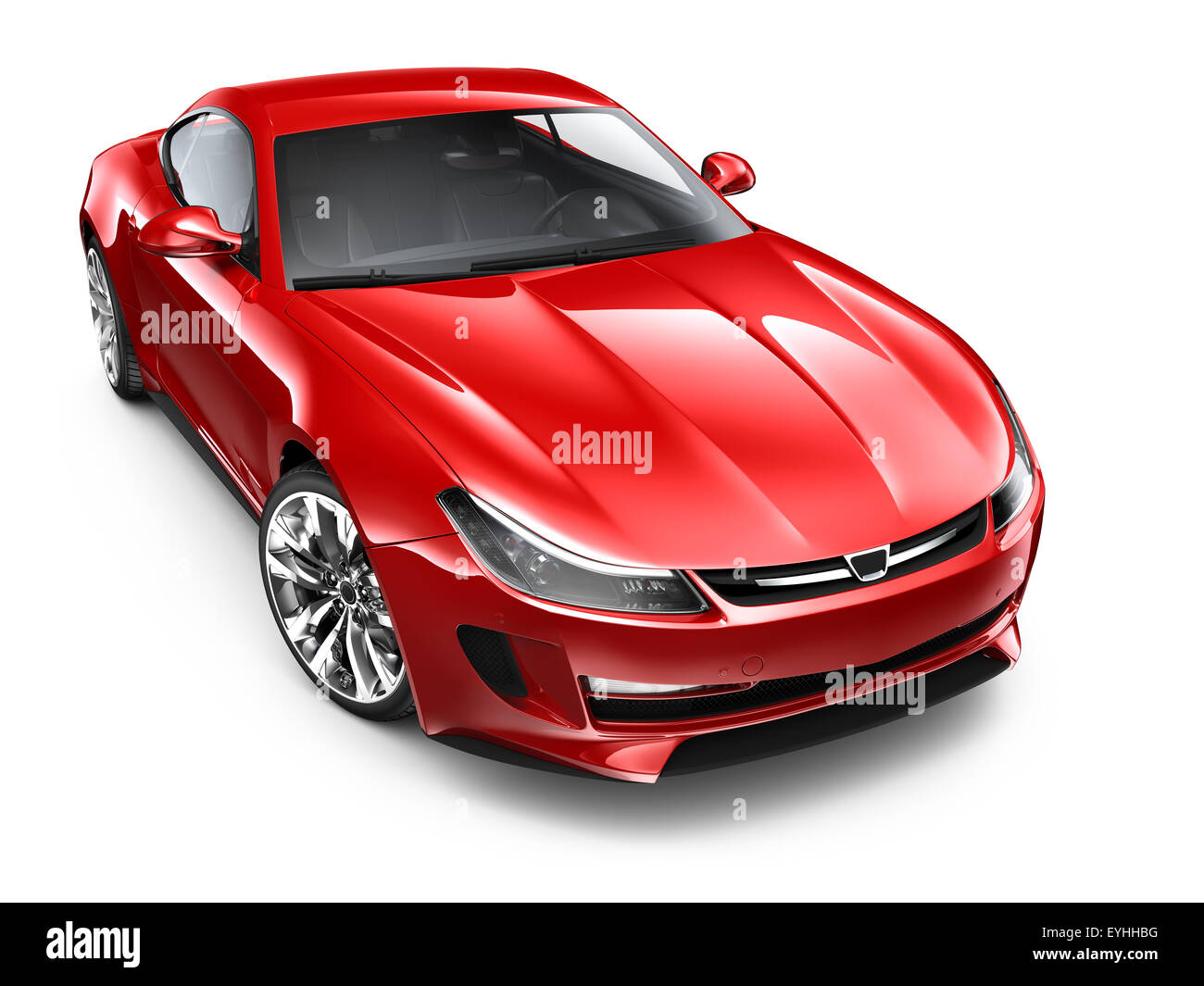 Isolated red sports car on white background - Stock Image