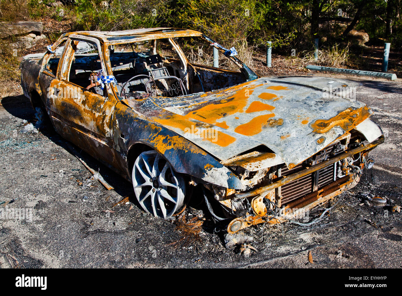 burned out car - Stock Image