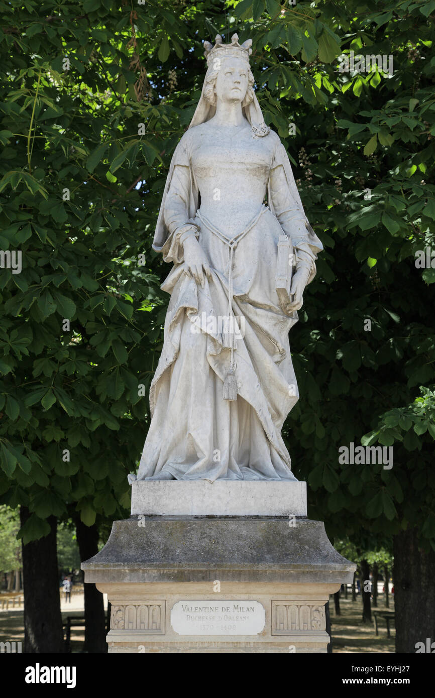 Valentine of Milan Duchess of Orleans 1370-1408 Luxembourg Garden Jardin du Luxembourg in Paris France - Stock Image