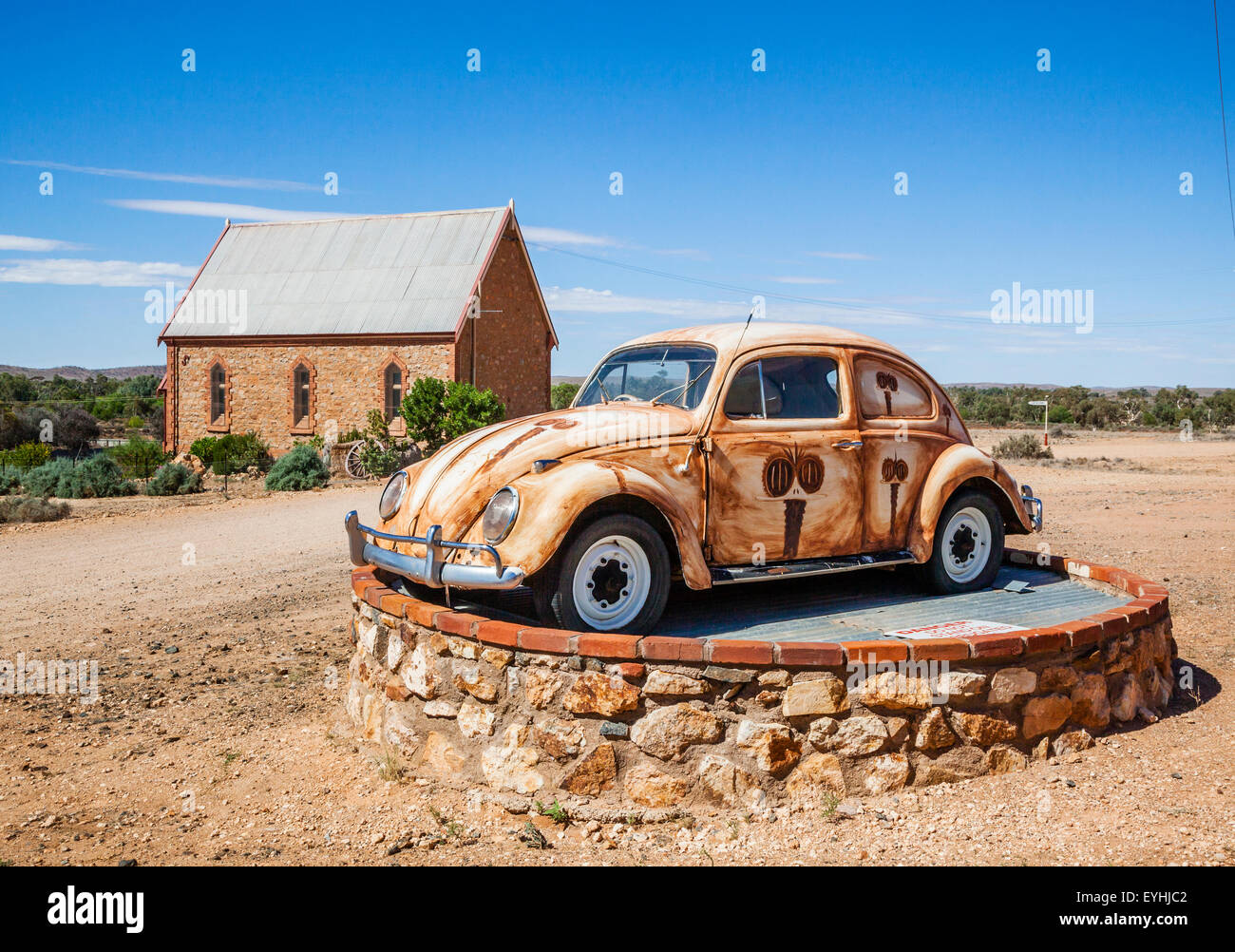 Australia, Far West New South Wales, painted VW bugs adorned with emu portraits in the village of Silberton near - Stock Image