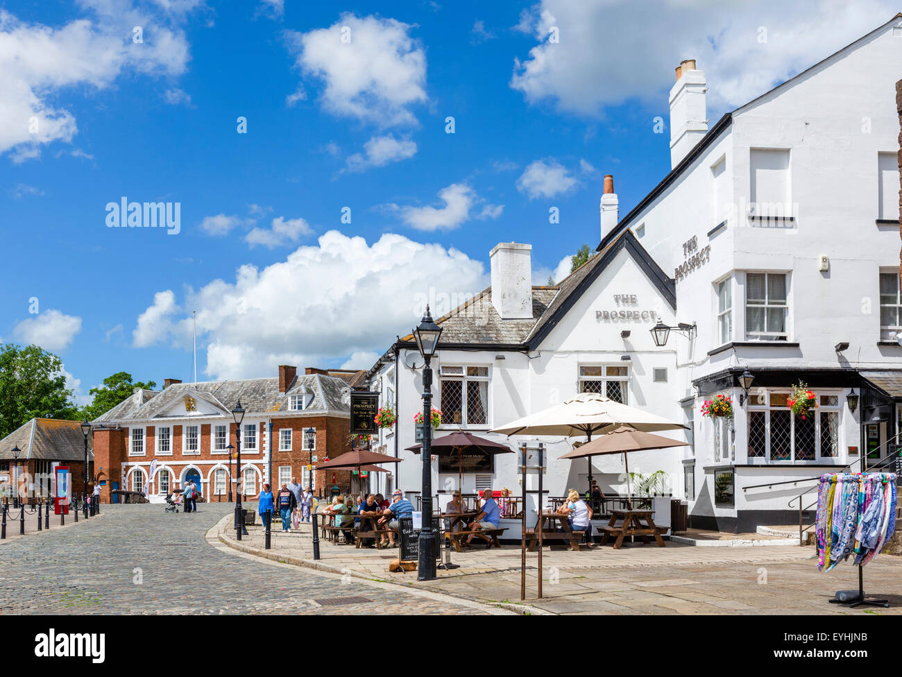 The Prospect pub with the historic Custom House behind, The Quay, Exeter, Devon, England, UK - Stock Image