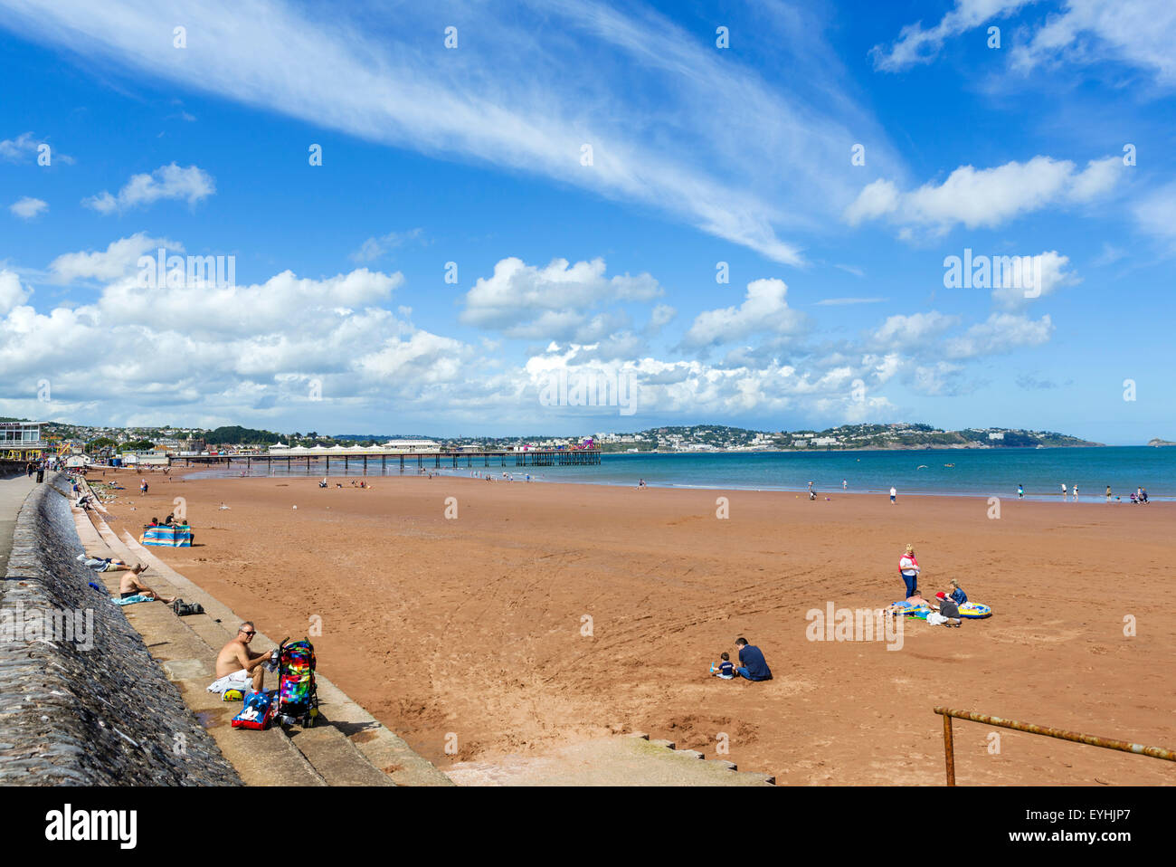 The beach and pier in Paignton, Torbay, Devon, England, UK - Stock Image