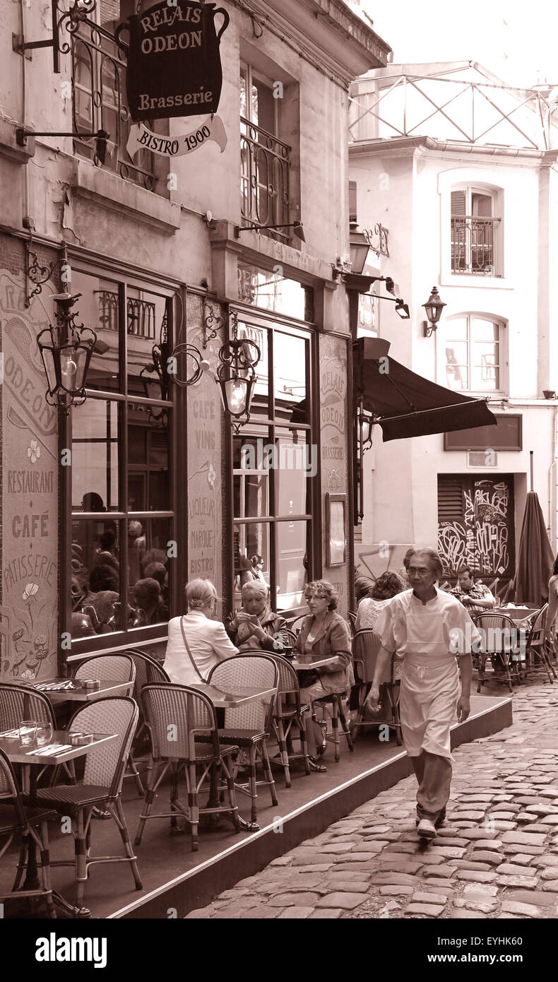 Paris Bistro Relais Odeon Saint Germain des Pres France.restaurant teracce spring french food culture. - Stock Image