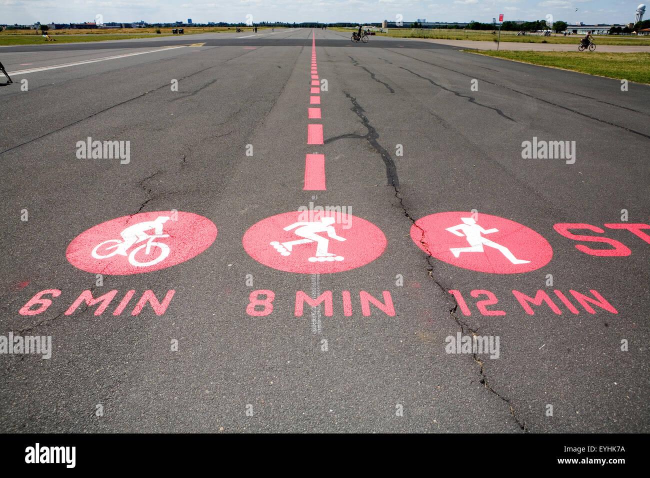 Berlin, Germany, marks on the former runway in Tempelhofer Park - Stock Image