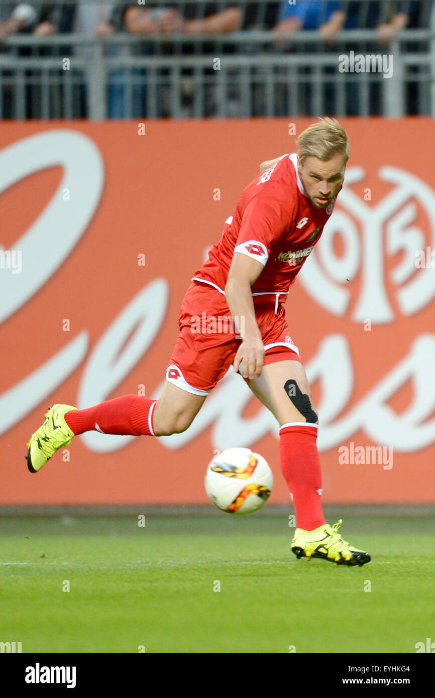 Mainz, Germany. 29th July, 2015. Mainz' Maximilian Beister in action during the soccer test match 1st FSV Mainz - Stock Image
