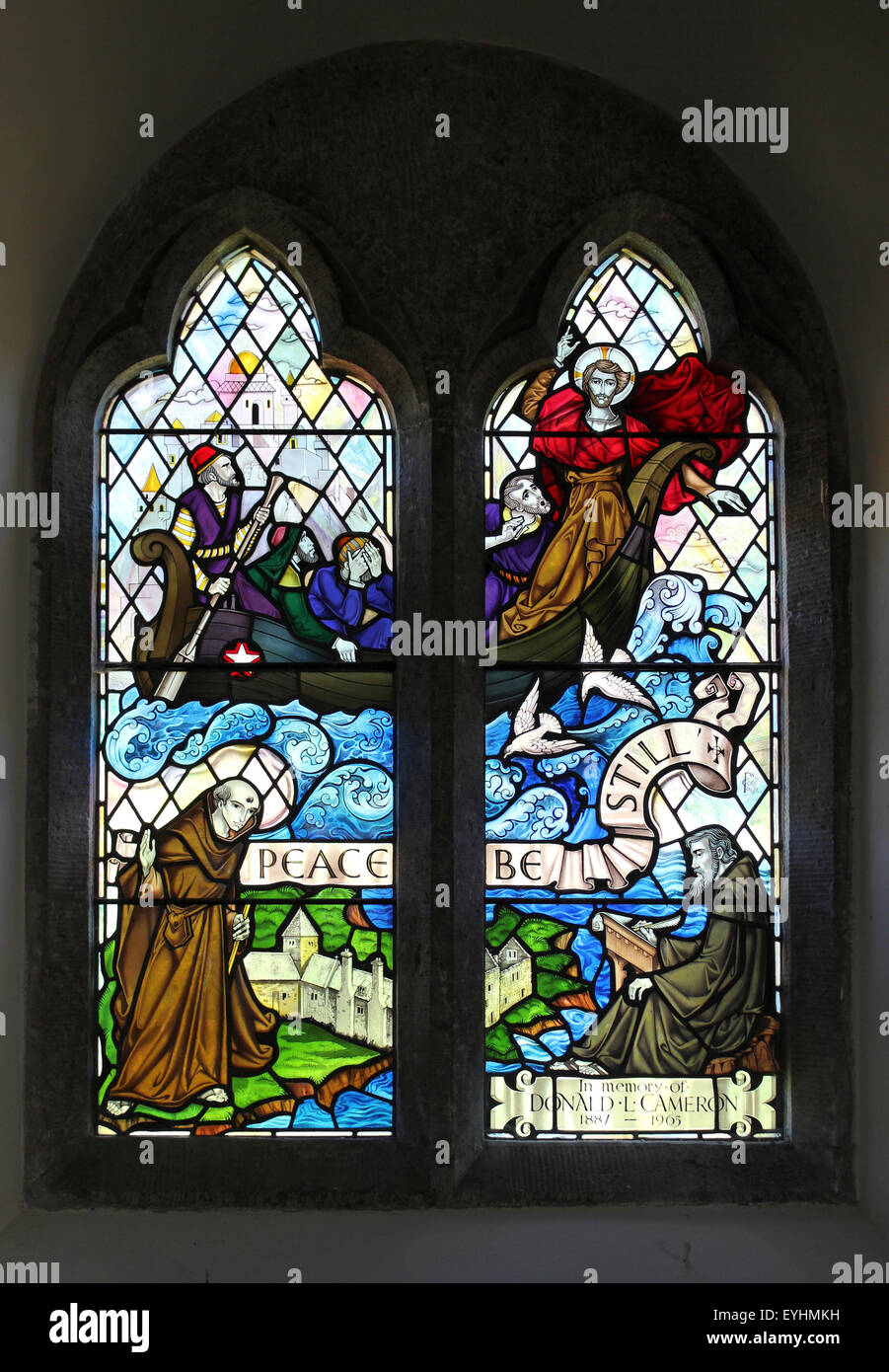 Christ Calming the Storm with St Seiriol and St Cybi, Church of St Seiriol, Penmon, Anglesey north wall of the chancel - Stock Image