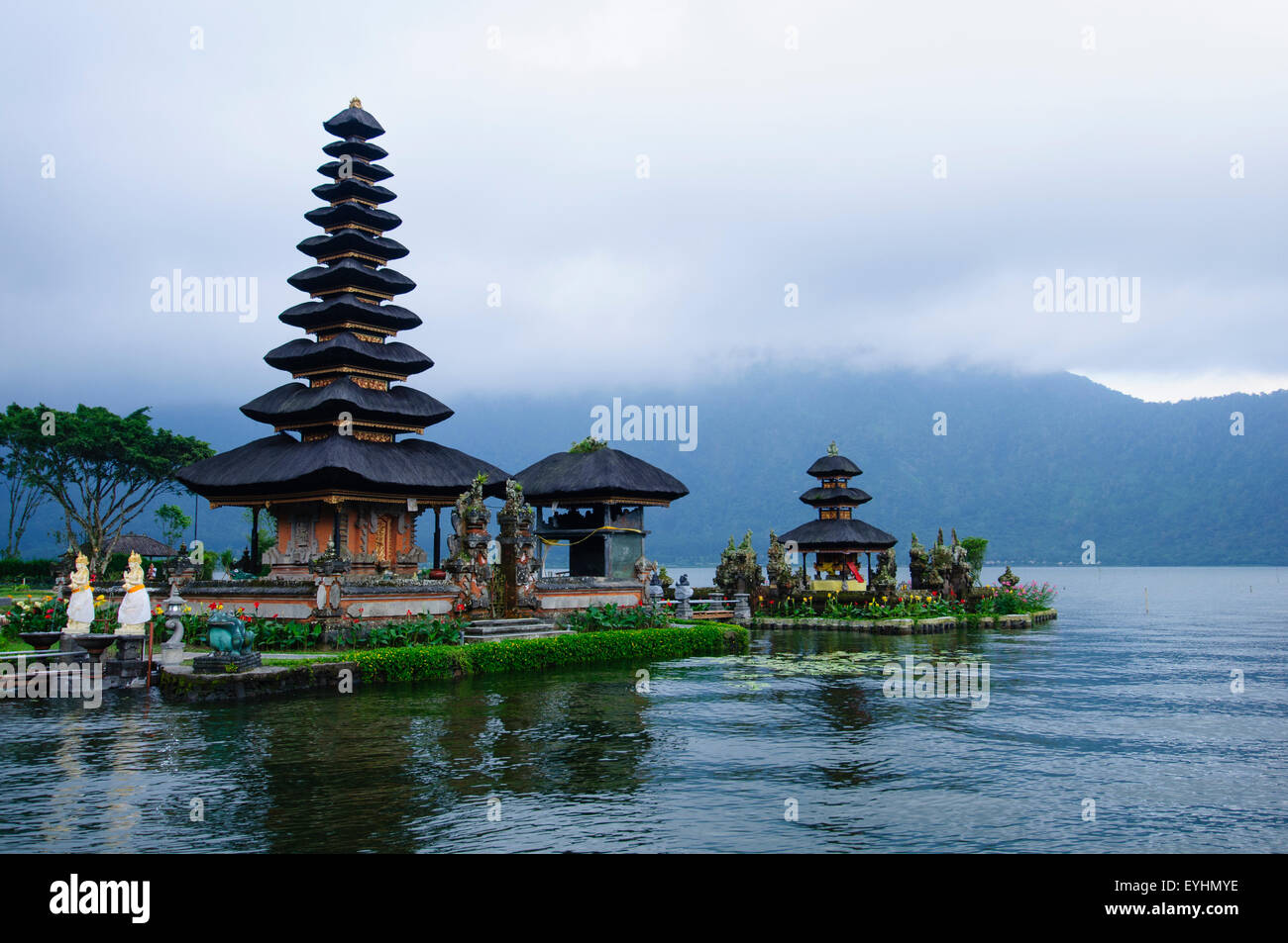 The temple of Pura Ulun Danau Bratan, one of the most revered temples in Bali, Located in the town of Bedugul in - Stock Image