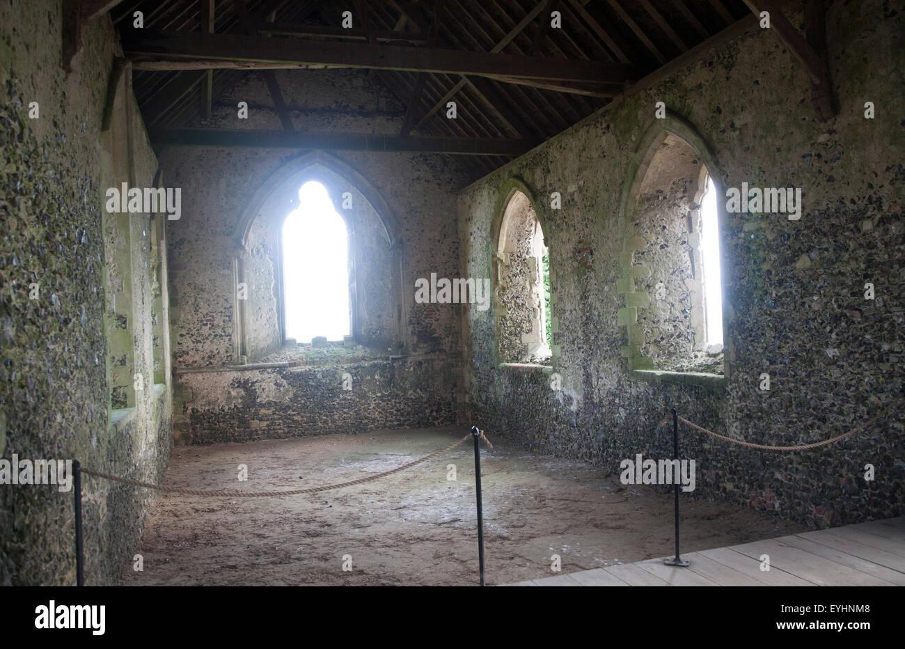 Inside the thirteenth century chapel Chisbury, Wiltshire, England, UK Stock Photo