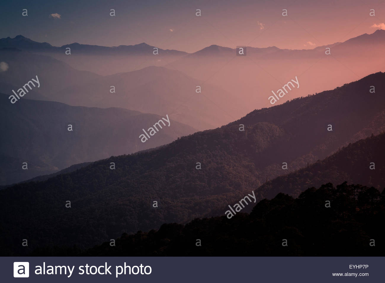 The Himalayan foothills in Bhutan. - Stock Image