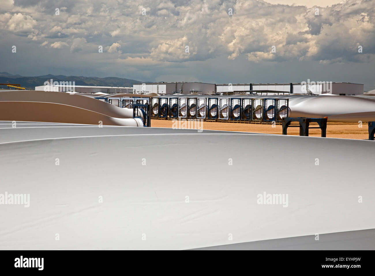 Windsor, Colorado - Wind turbine blades stored outside the Vestas Wind Systems factory. - Stock Image