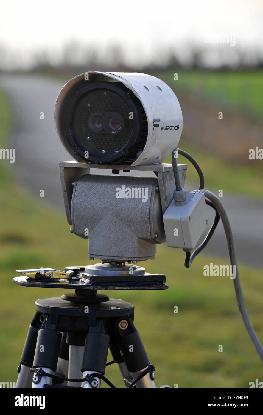 DVLA road fund licence (tax disk) detector camera being used to read number plates and check that the cars is on - Stock Image