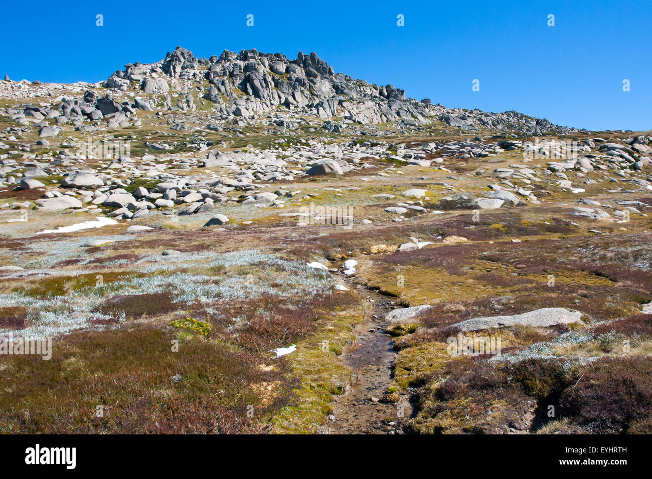 A spectacular view across the valley on the Kosciuszko walk near the summit of Thredo in Snowy Mountains, New South Stock Photo